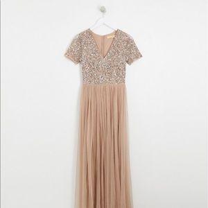 Maya Plus Bridesmaid Dress- Rose Gold/Taupe
